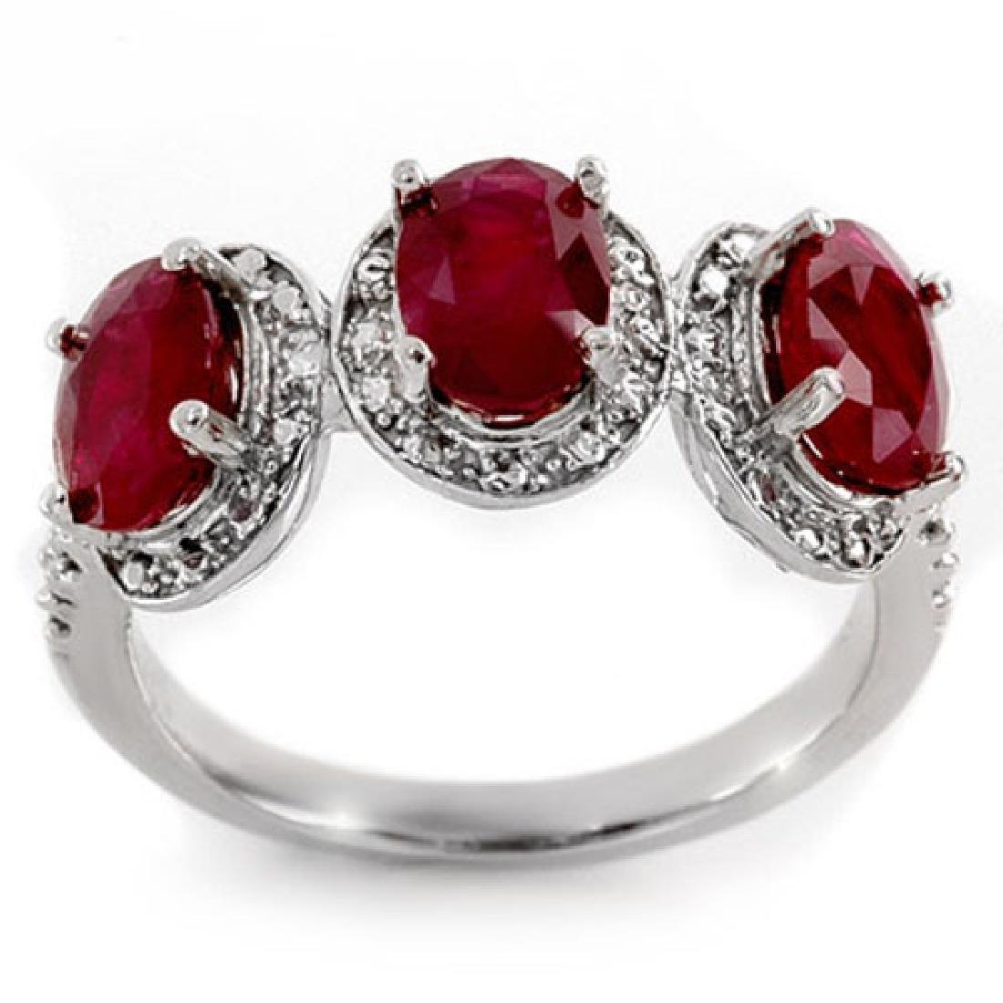 3.08 CTW Ruby & Diamond Ring 10K White Gold
