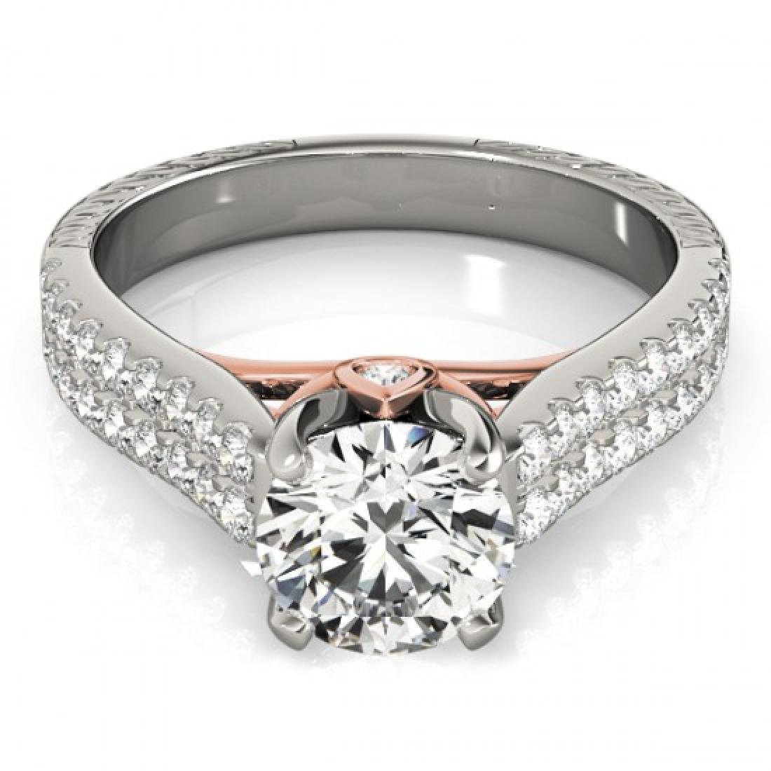 1.61 CTW Certified VS/SI Diamond Pave Ring 18K White &