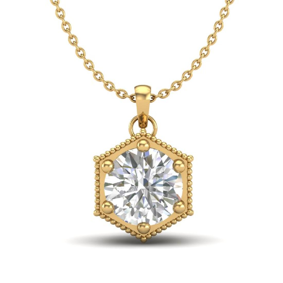 0.82 CTW VS/SI Diamond Solitaire Art Deco Stud Necklace