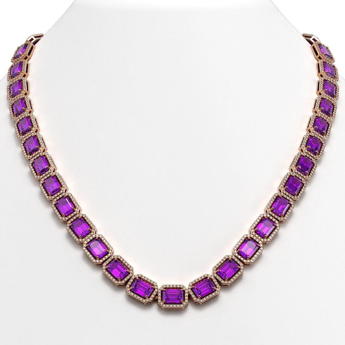 50.99 CTW Amethyst & Diamond Halo Necklace 10K Rose