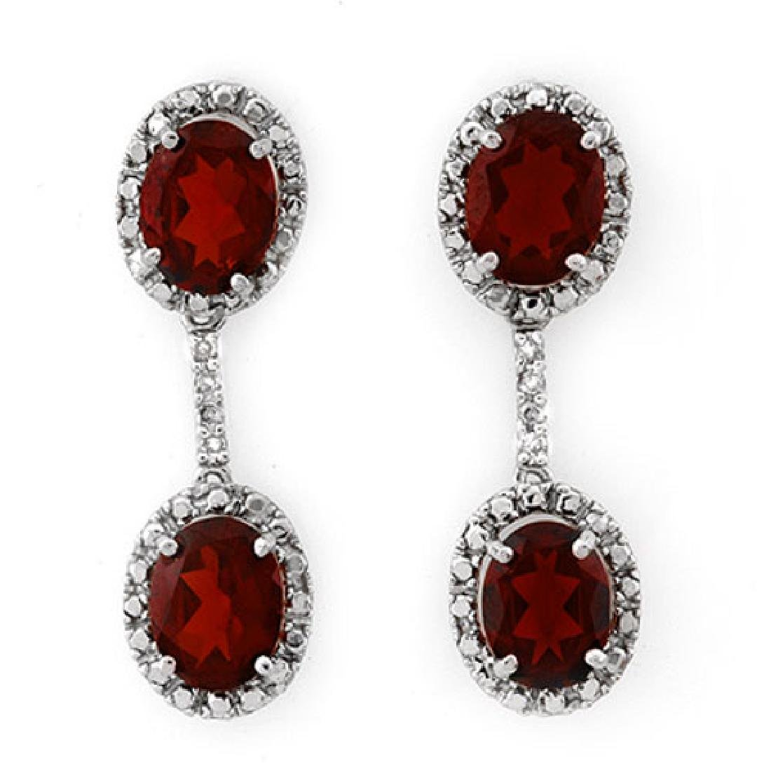 8.10 CTW Garnet & Diamond Earrings 14K White Gold