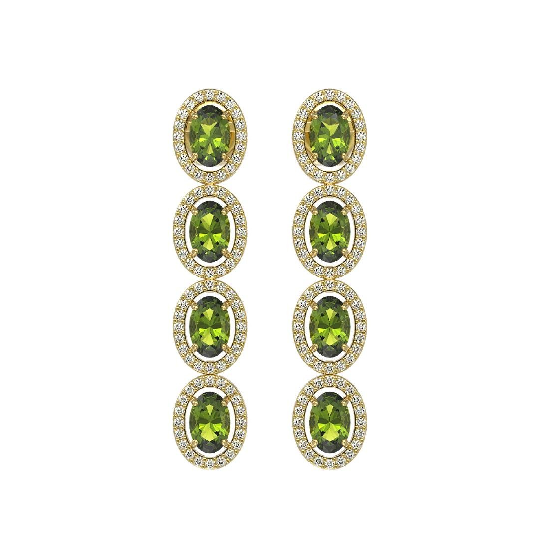 5.88 CTW Tourmaline & Diamond Halo Earrings 10K Yellow