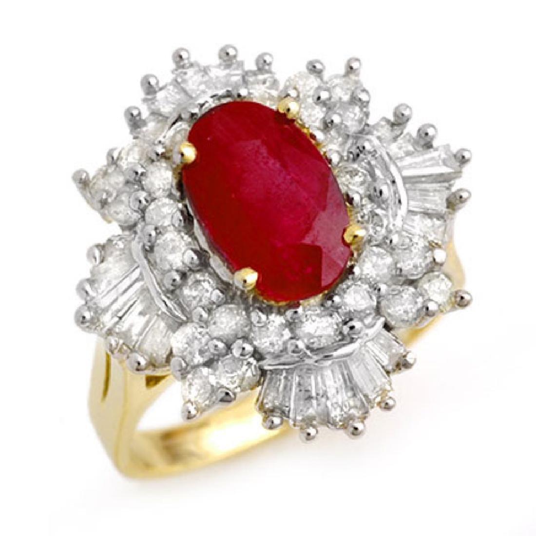 4.70 CTW Ruby & Diamond Ring 14K Yellow Gold