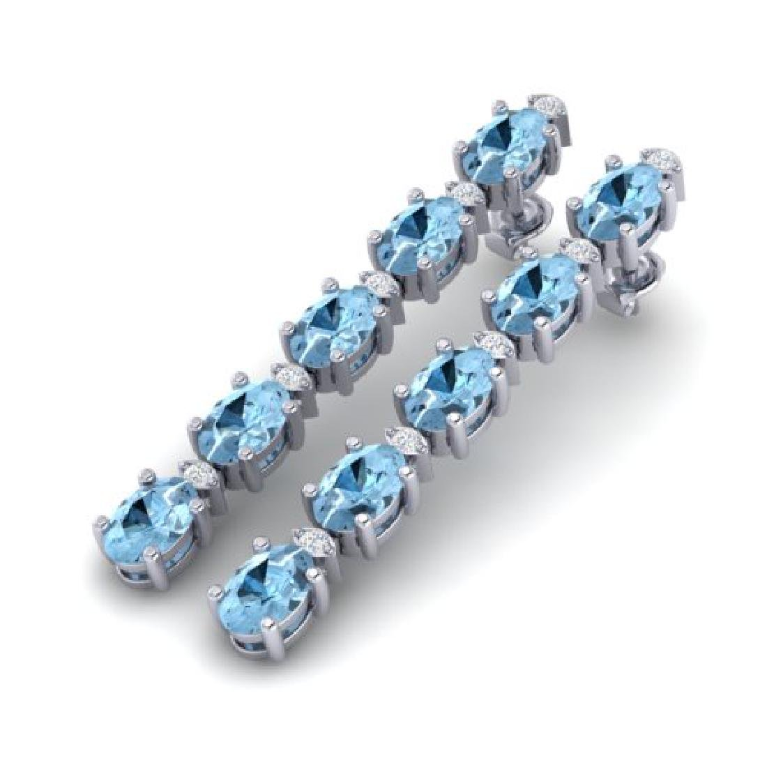 12.47 CTW Aquamarine & VS/SI Certified Diamond Tennis