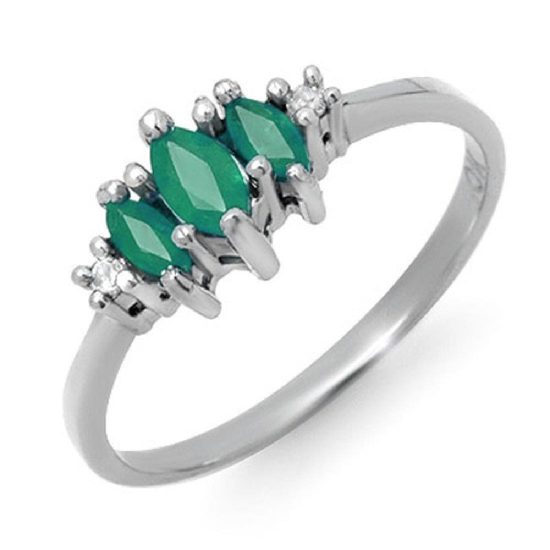 0.37 CTW Emerald & Diamond Ring 18K White Gold