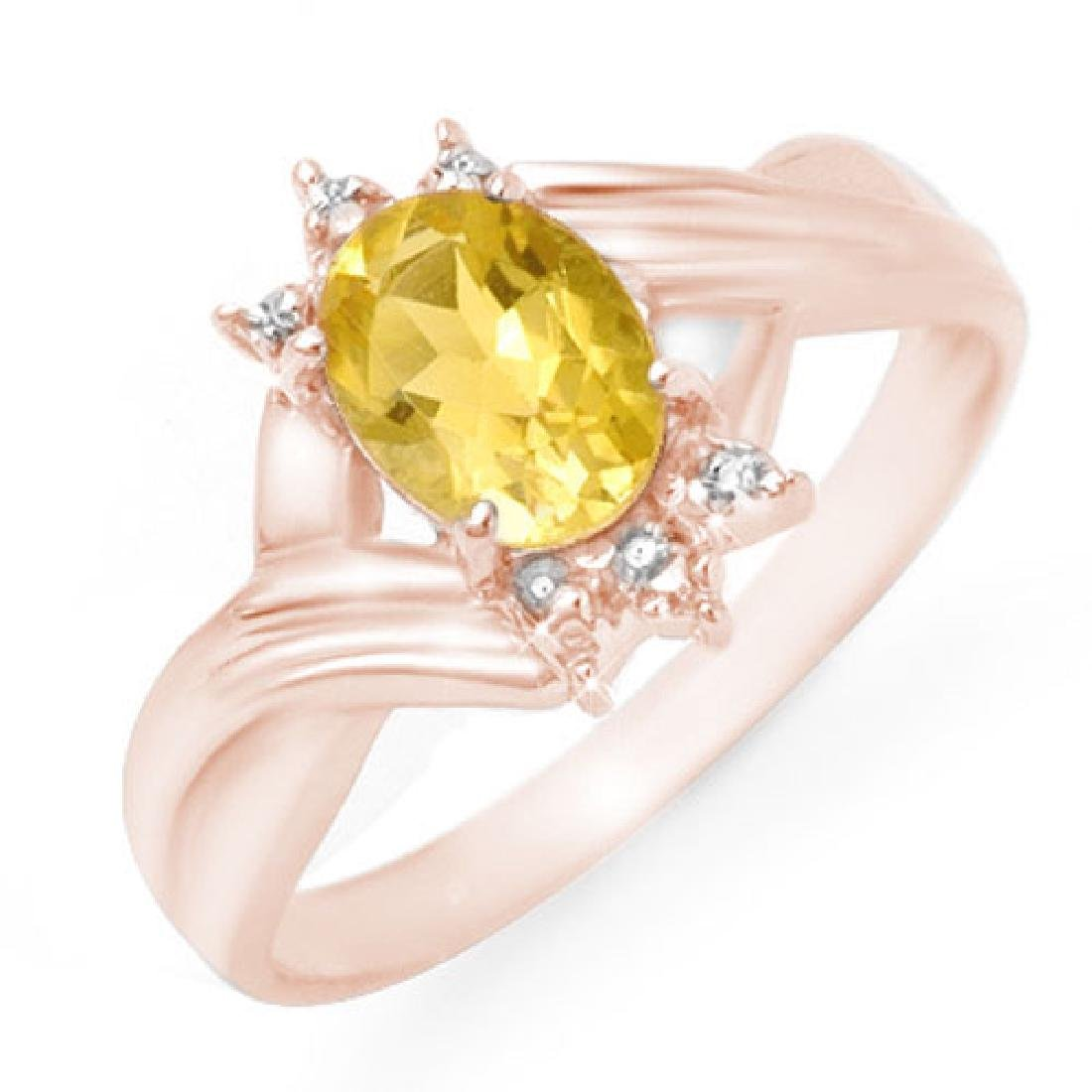 1.04 CTW Citrine & Diamond Ring 14K Rose Gold