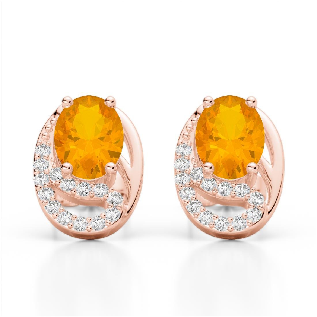 2.50 Citrine & Micro Pave VS/SI Diamond Stud Earrings