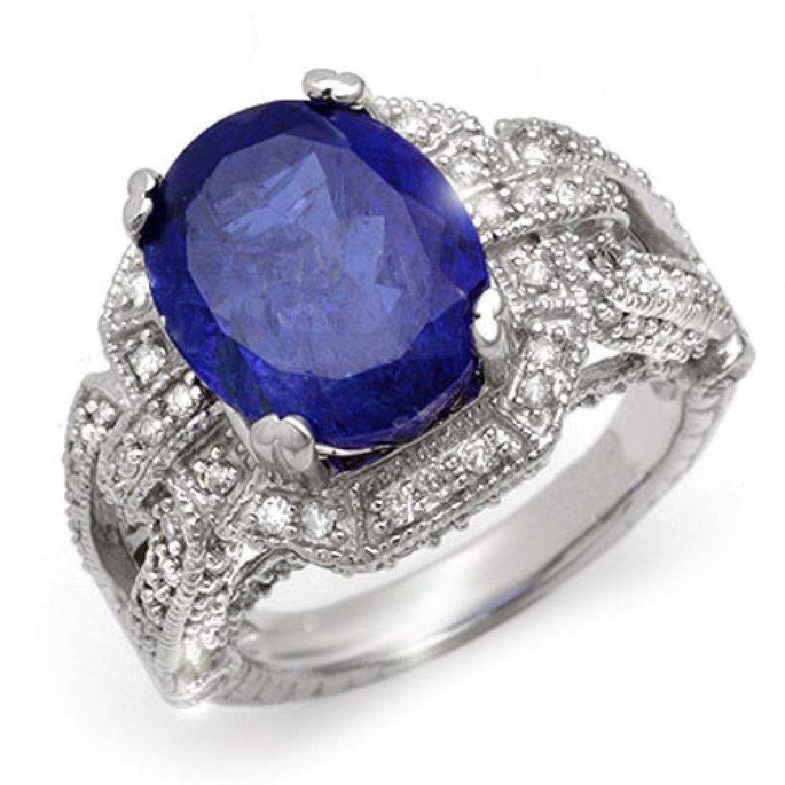 8.50 CTW Tanzanite & Diamond Ring 18K White Gold