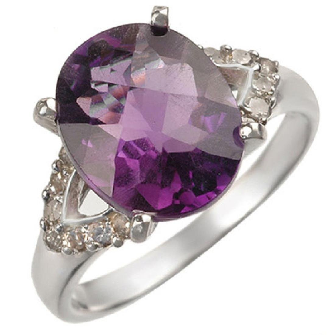 3.70 CTW Amethyst & Diamond Ring 10K White Gold