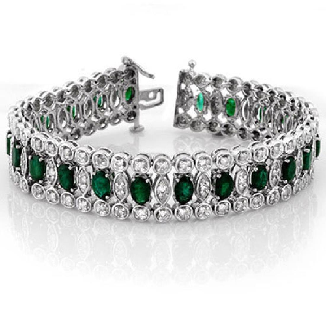 14.50 CTW Emerald & Diamond Bracelet 14K White Gold