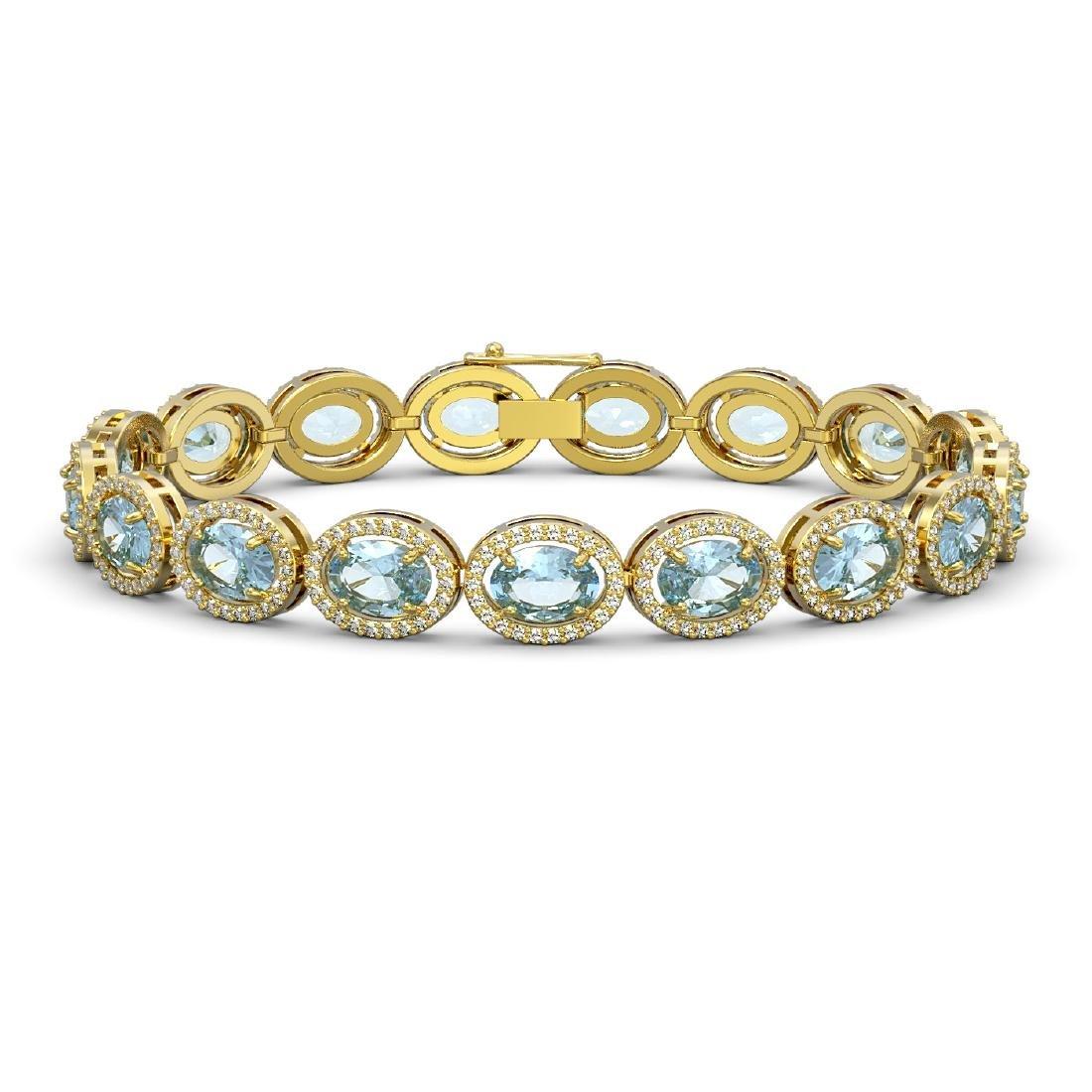 24.32 CTW Sky Topaz & Diamond Halo Bracelet 10K Yellow