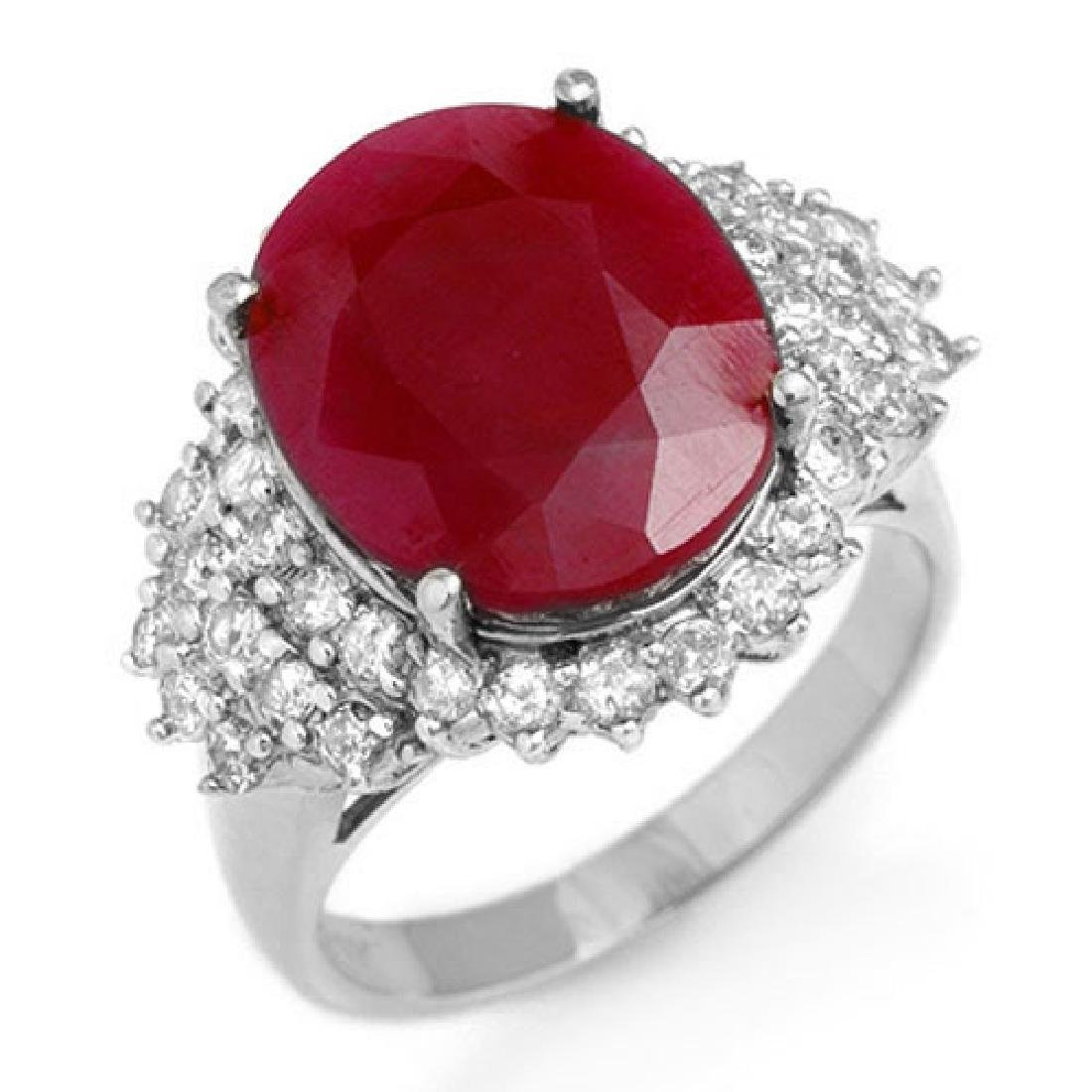 8.32 CTW Ruby & Diamond Ring 18K White Gold