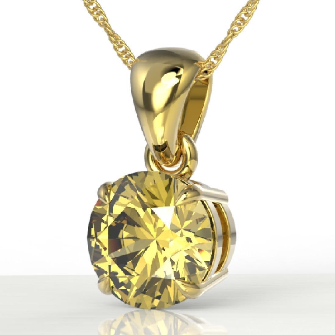 2 CTW Citrine Designer Inspired Solitaire Necklace 18K