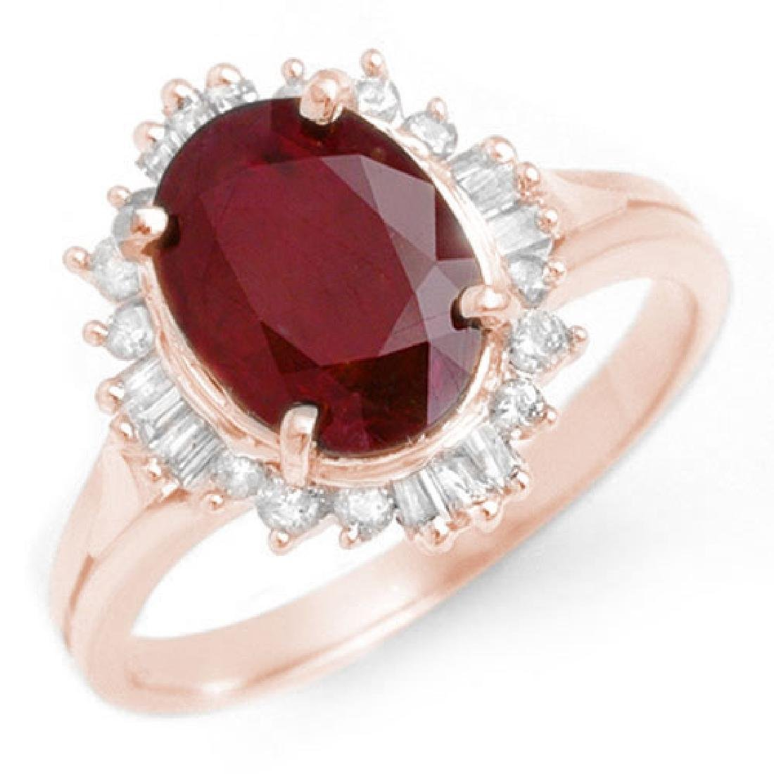 2.55 CTW Ruby & Diamond Ring 14K Rose Gold