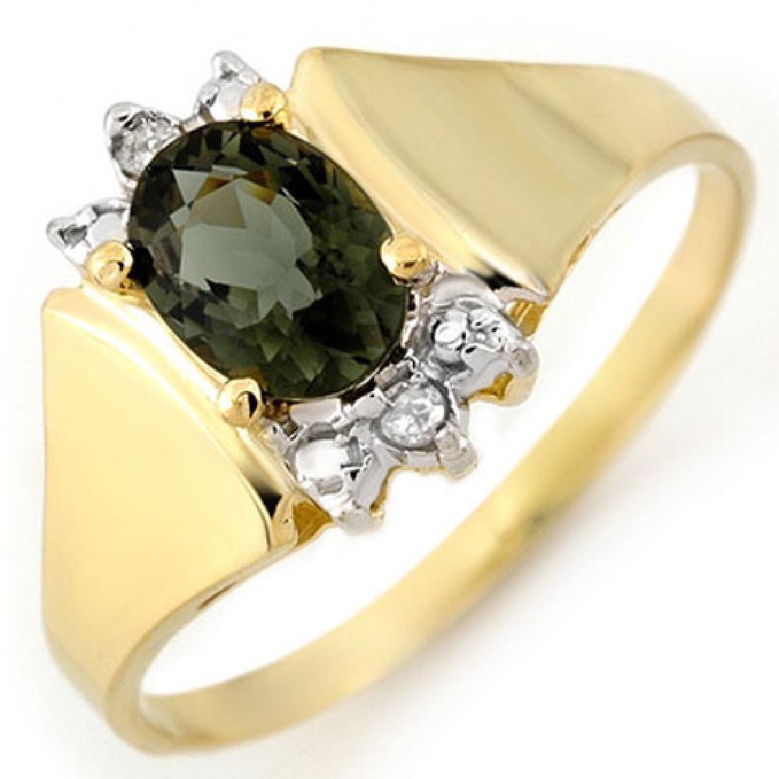 1.04 CTW Green Tourmaline & Diamond Ring 14K Yellow