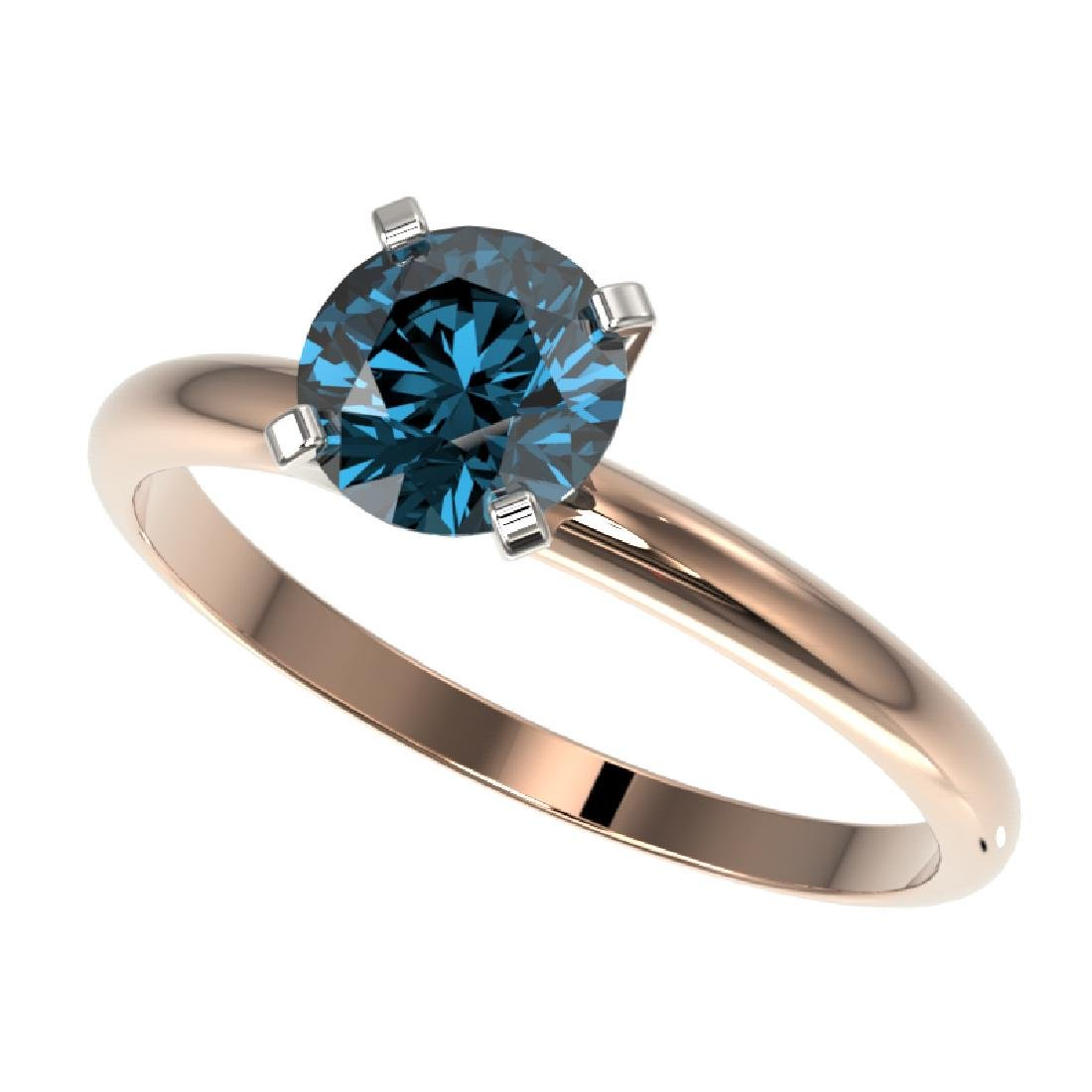1.02 CTW Certified Intense Blue SI Diamond Solitaire