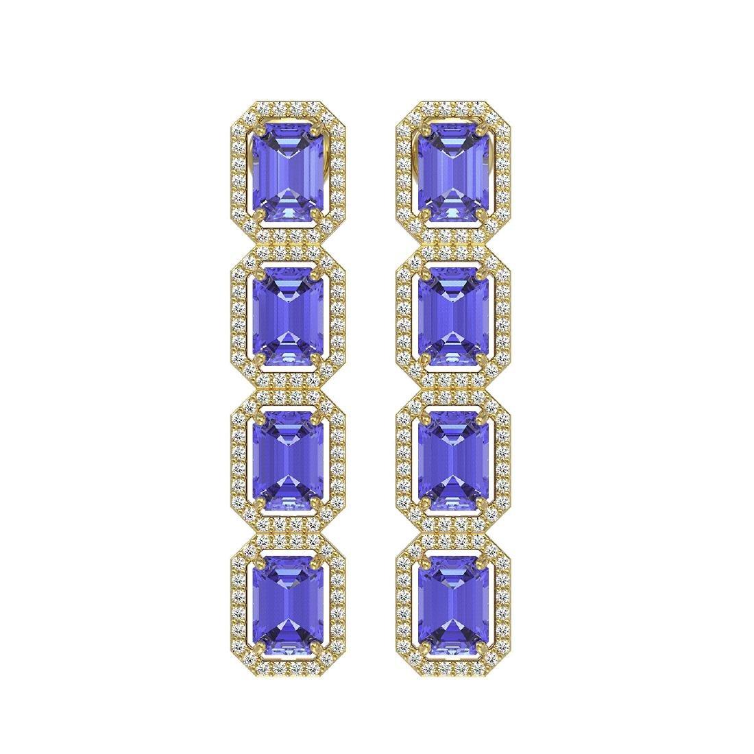 11.93 CTW Tanzanite & Diamond Halo Earrings 10K Yellow