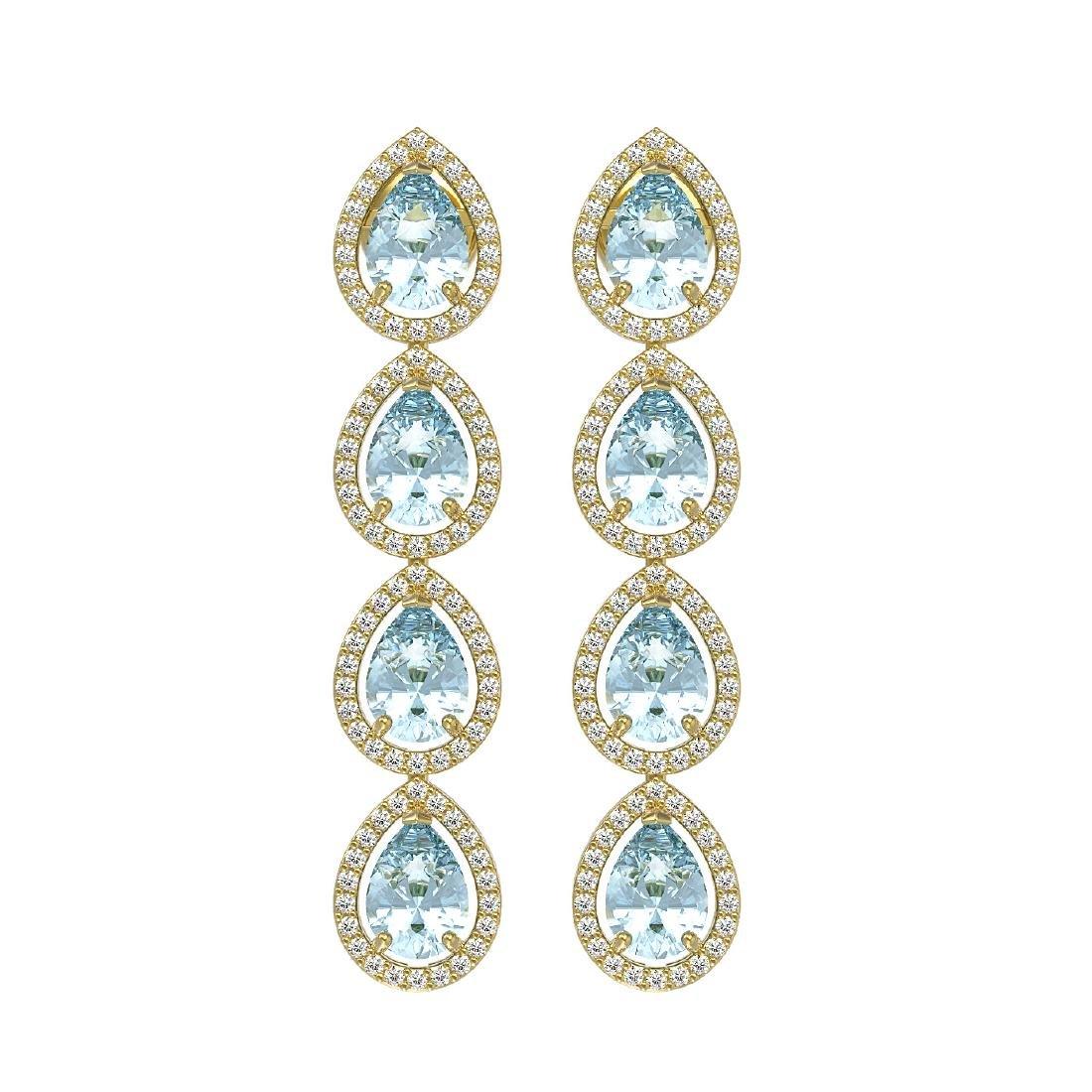 7.41 CTW Aquamarine & Diamond Halo Earrings 10K Yellow