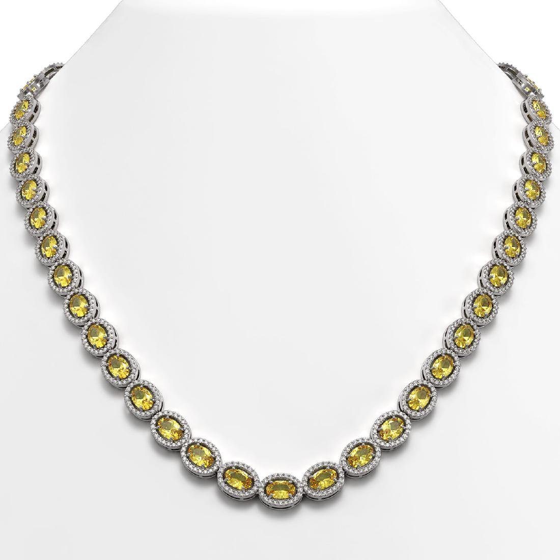 28.52 CTW Fancy Citrine & Diamond Halo Necklace 10K