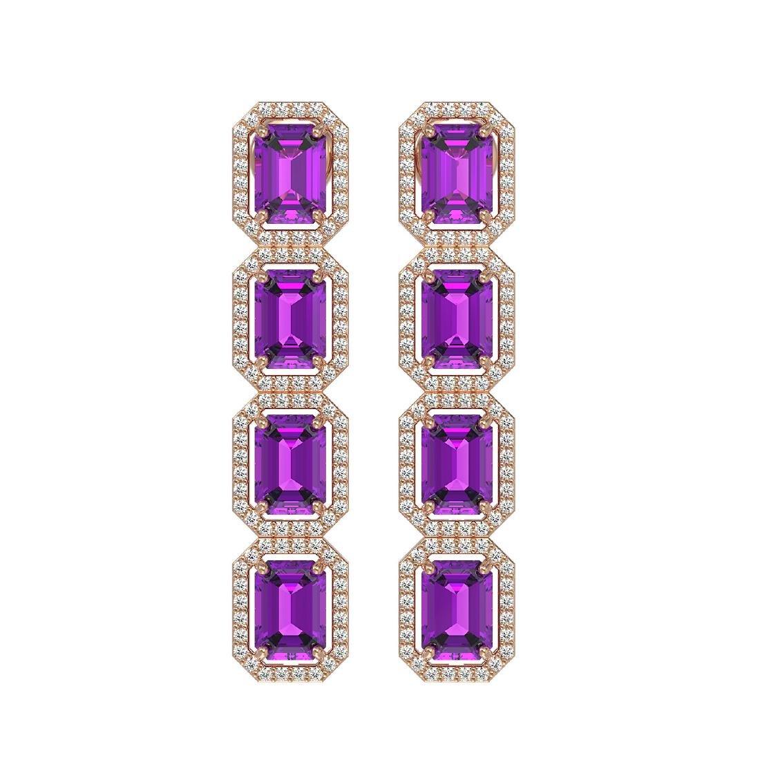 10.73 CTW Amethyst & Diamond Halo Earrings 10K Rose