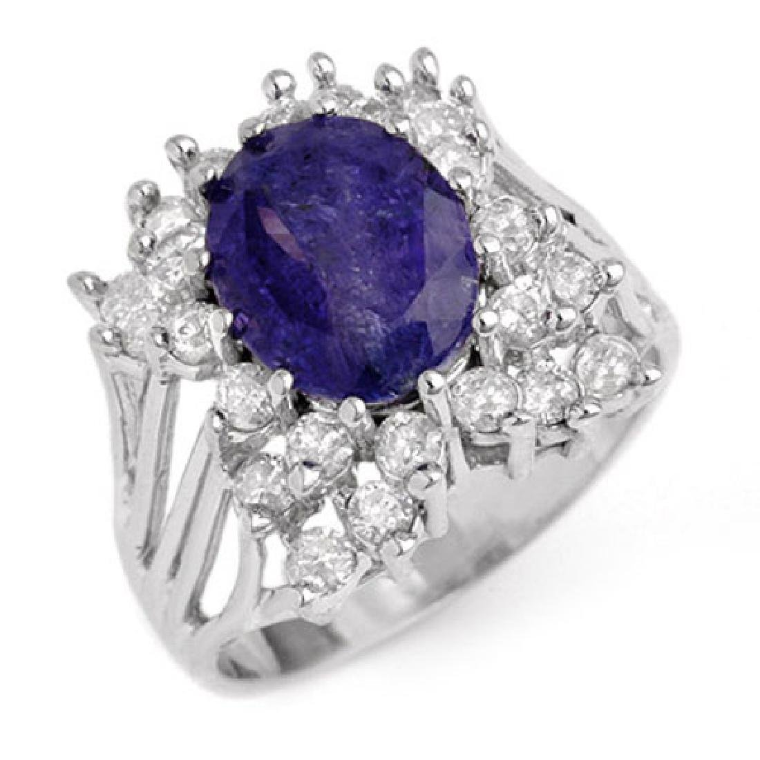 4.44 CTW Tanzanite & Diamond Ring 14K White Gold