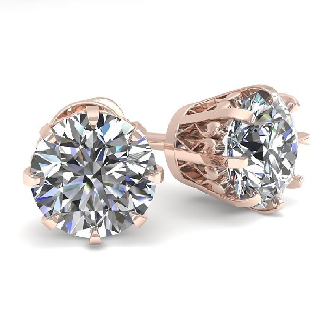 2.03 CTW VS/SI Diamond Stud Solitaire Earrings 18K Rose