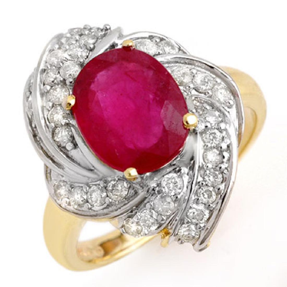3.55 CTW Ruby & Diamond Ring 14K Yellow Gold