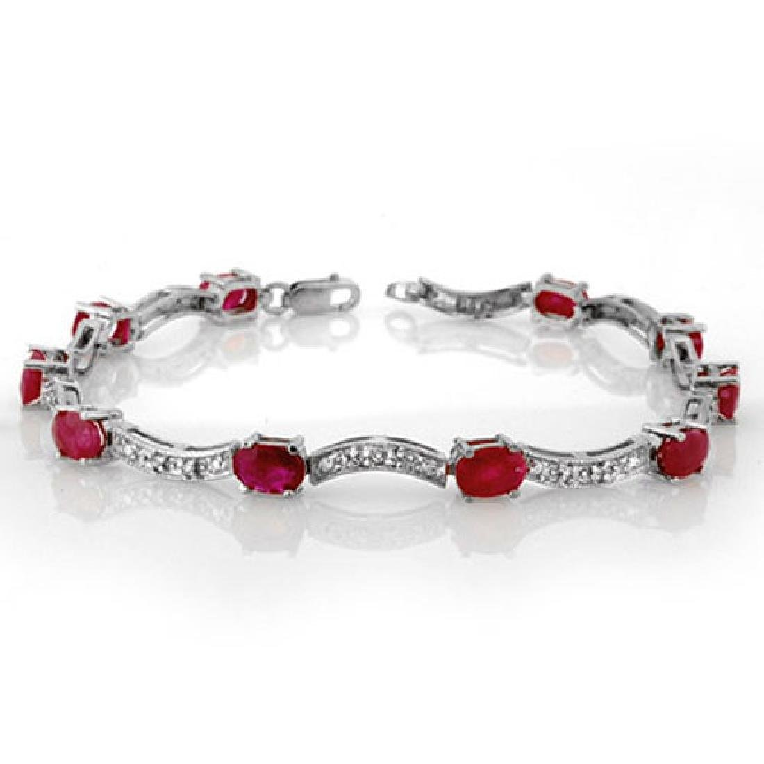 4.25 CTW Ruby & Diamond Bracelet 14K White Gold