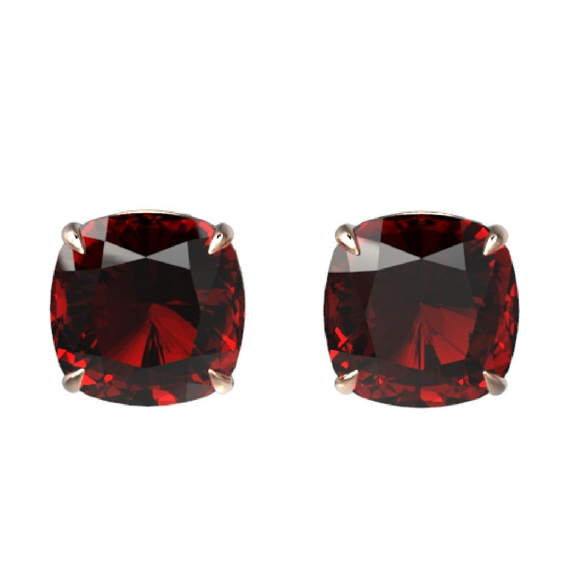 12 CTW Cushion Cut Garnet Designer Solitaire Stud