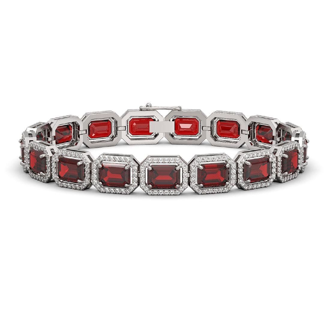 26.21 CTW Garnet & Diamond Halo Bracelet 10K White Gold