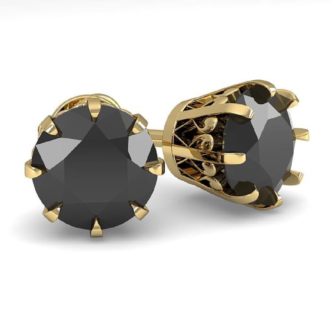 3.0 CTW Black Diamond Stud Solitaire Earrings 18K