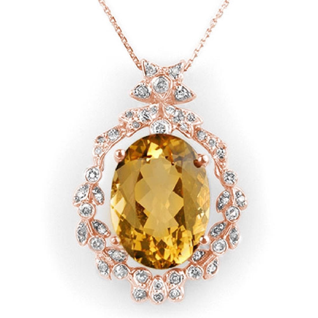 12.8 CTW Citrine & Diamond Necklace 14K Rose Gold