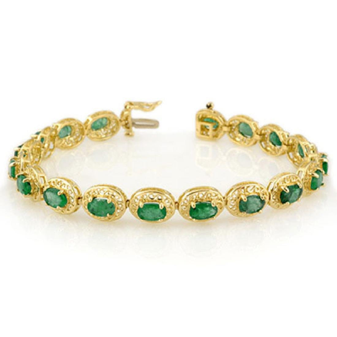 10.0 CTW Emerald Bracelet 10K Yellow Gold