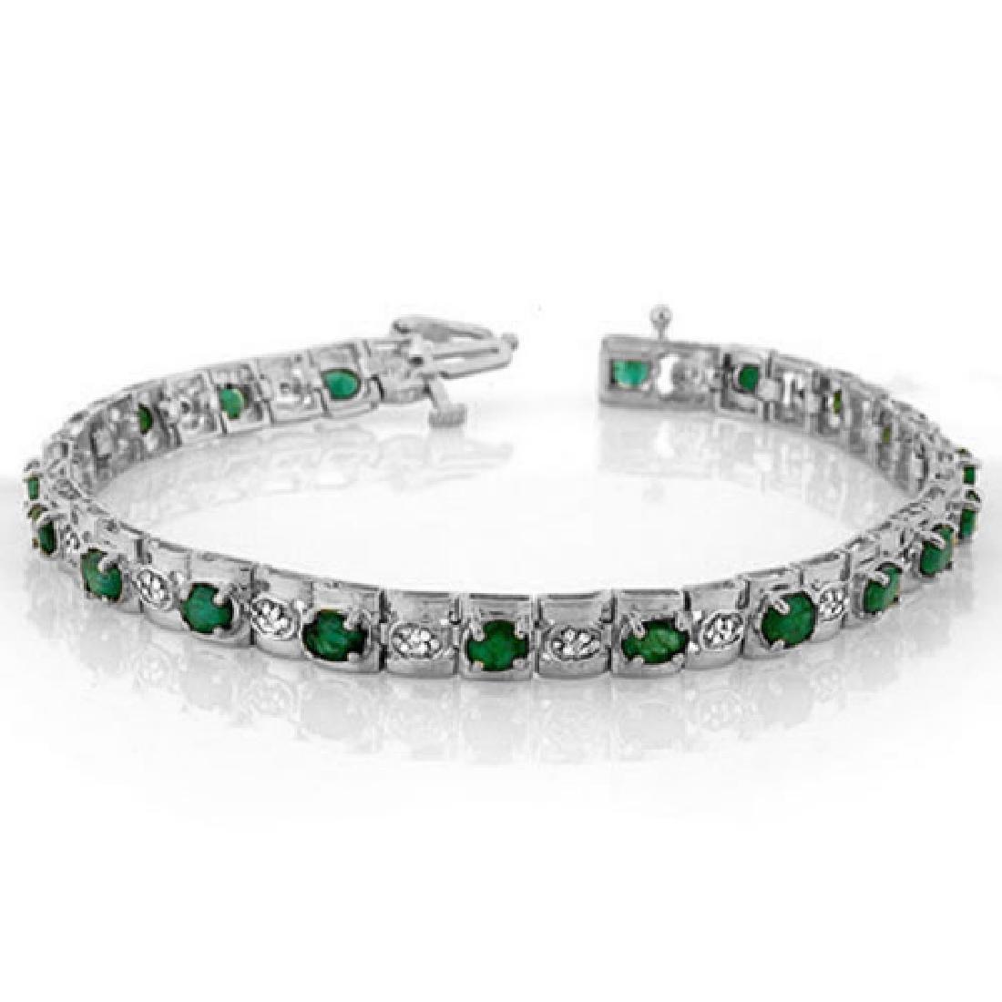 4.09 CTW Emerald & Diamond Bracelet 14K White Gold