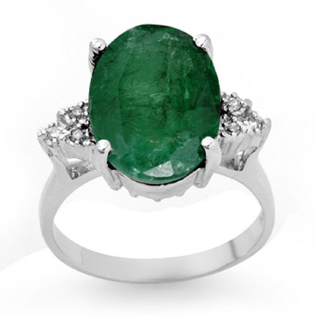 6.35 CTW Emerald & Diamond Ring 10K White Gold