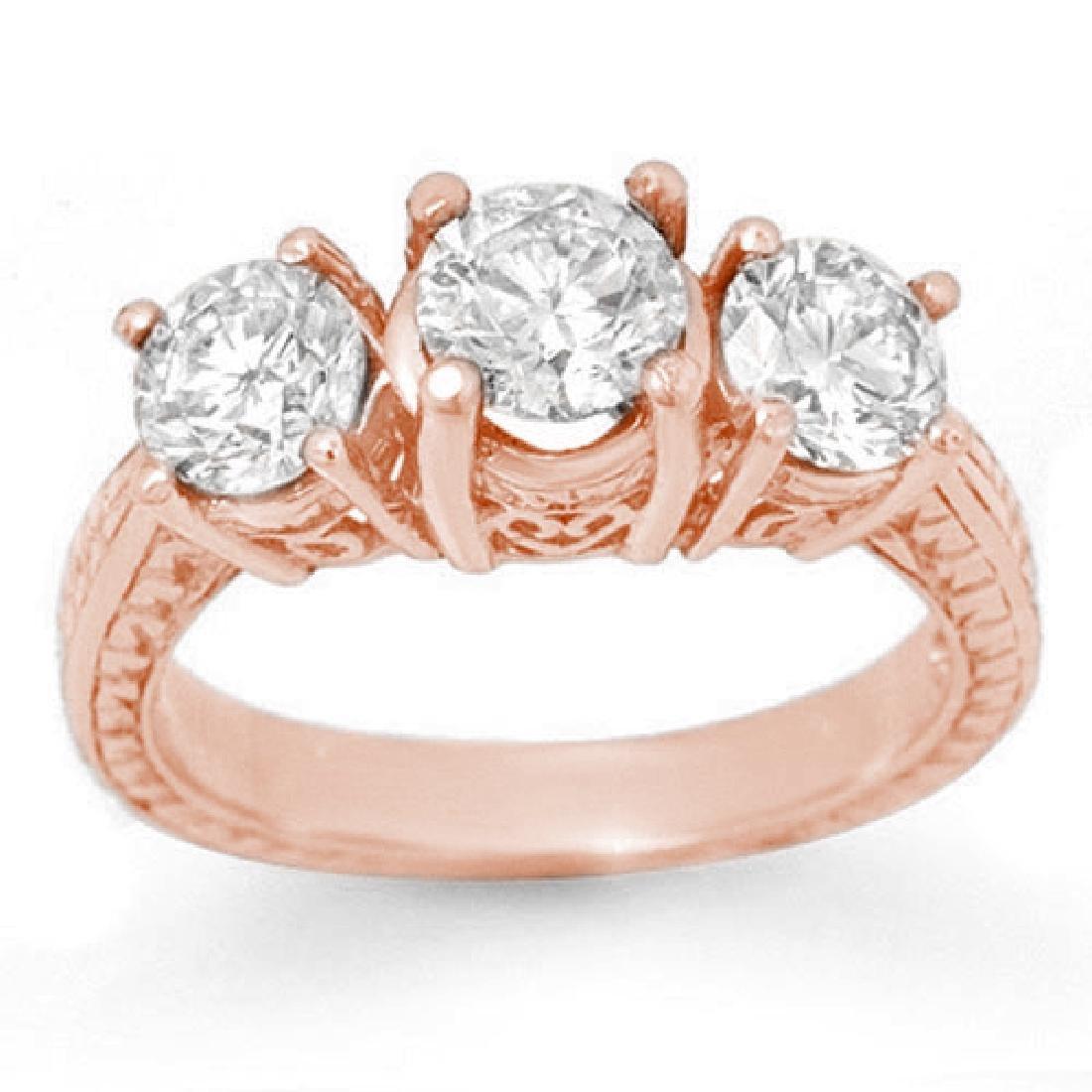 1.75 CTW Certified VS/SI Diamond 3 Stone Ring 14K Rose