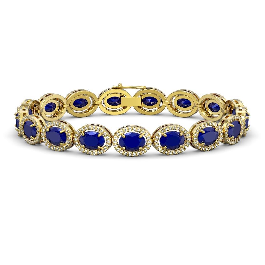 22.89 CTW Sapphire & Diamond Halo Bracelet 10K Yellow