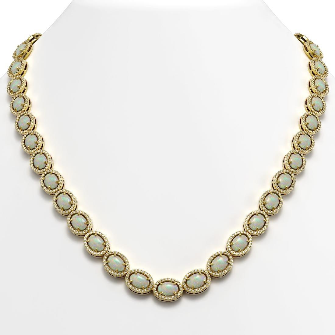 32.42 CTW Opal & Diamond Halo Necklace 10K Yellow Gold