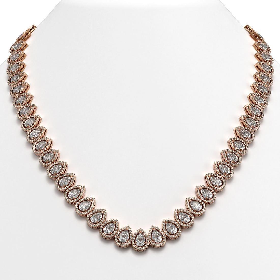 42.11 CTW Pear Diamond Designer Necklace 18K Rose Gold