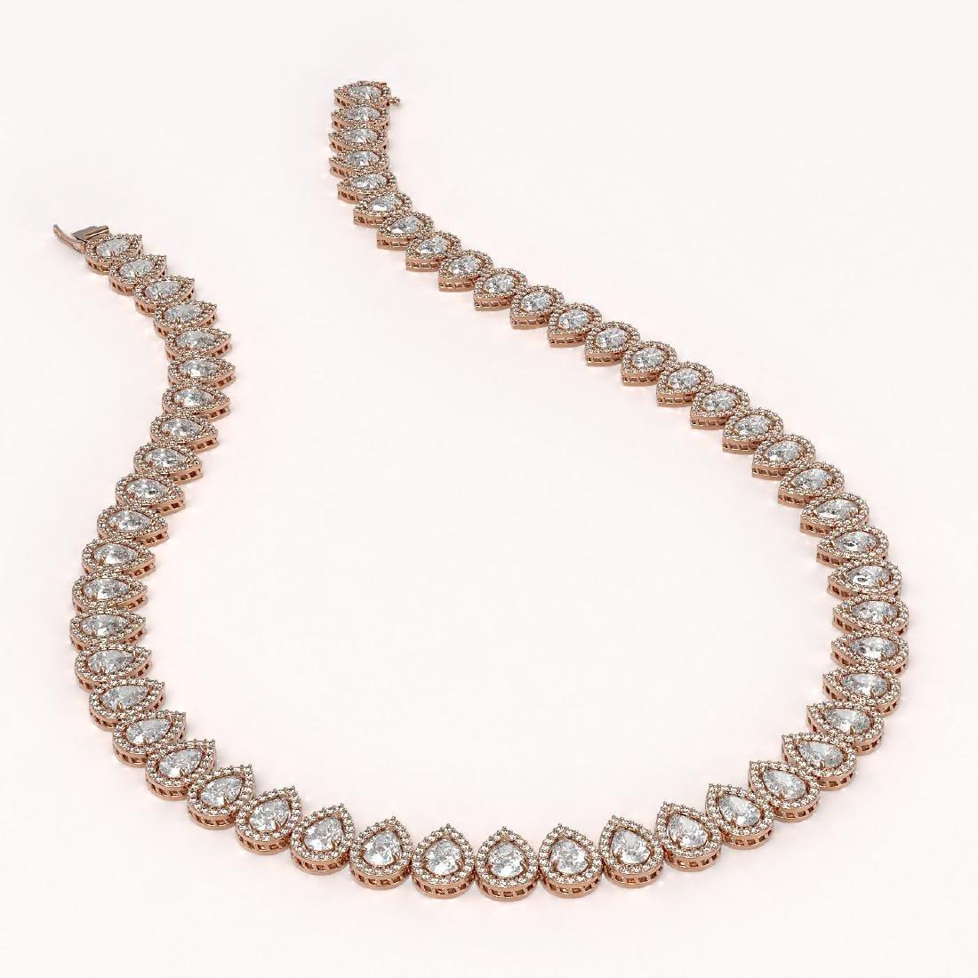 42.11 CTW Pear Diamond Designer Necklace 18K Rose Gold - 2