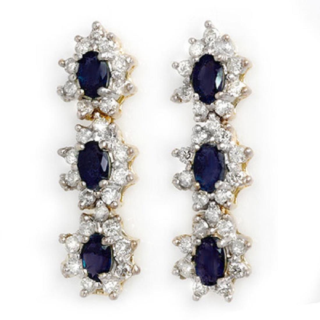 5.88 CTW Blue Sapphire & Diamond Earrings 14K Yellow