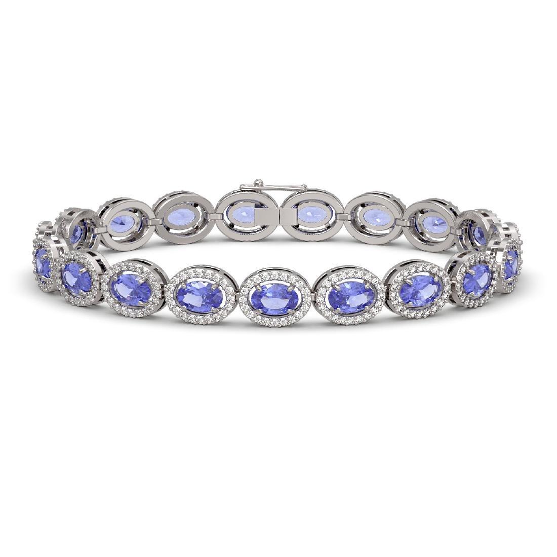14.25 CTW Tanzanite & Diamond Halo Bracelet 10K White