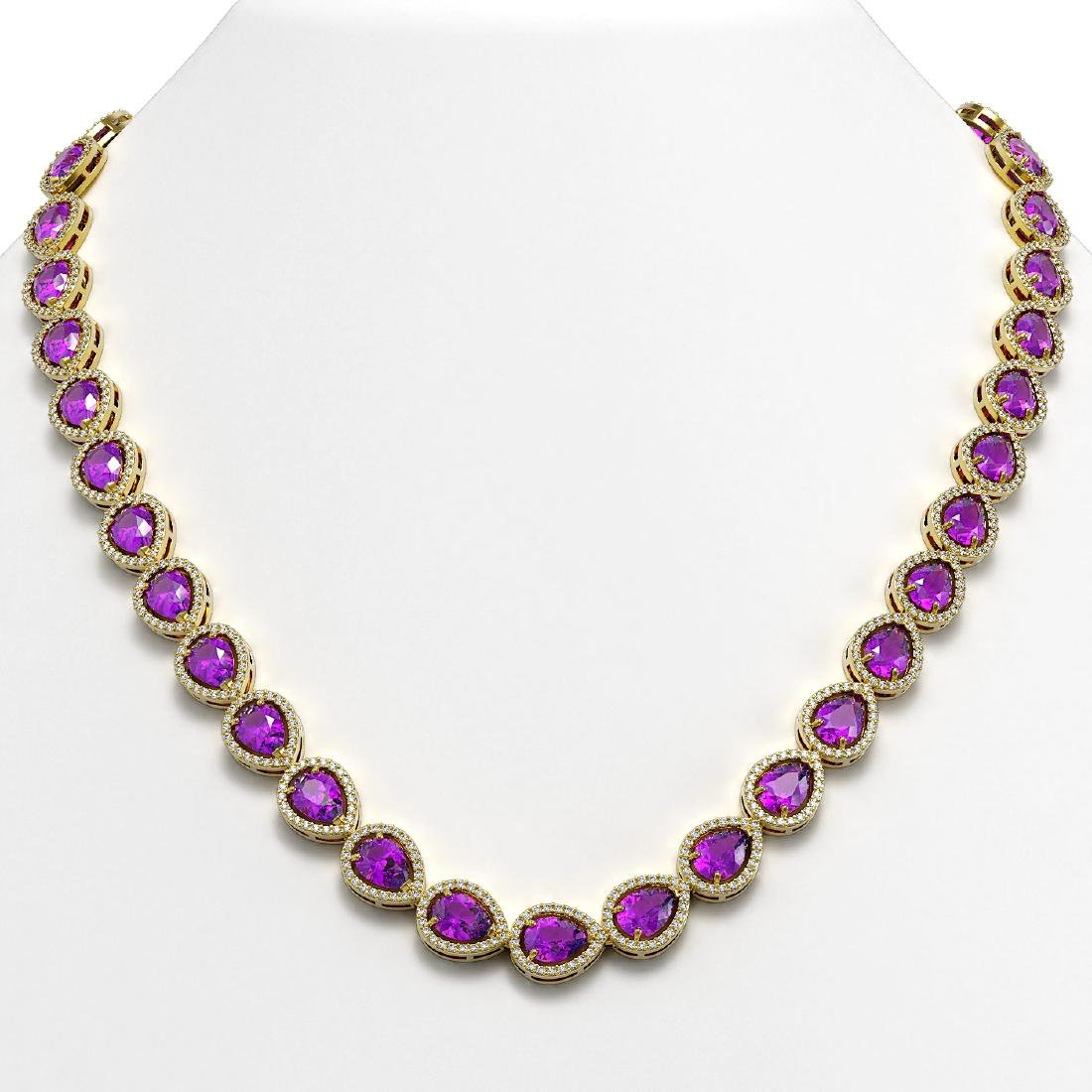 35.13 CTW Amethyst & Diamond Halo Necklace 10K Yellow