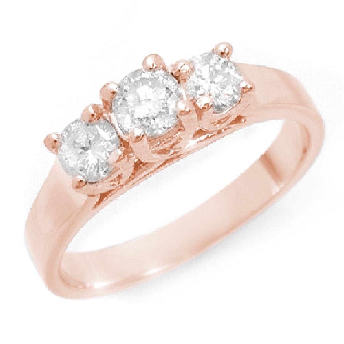 0.75 CTW Certified VS/SI Diamond 3 Stone Ring 14K Rose