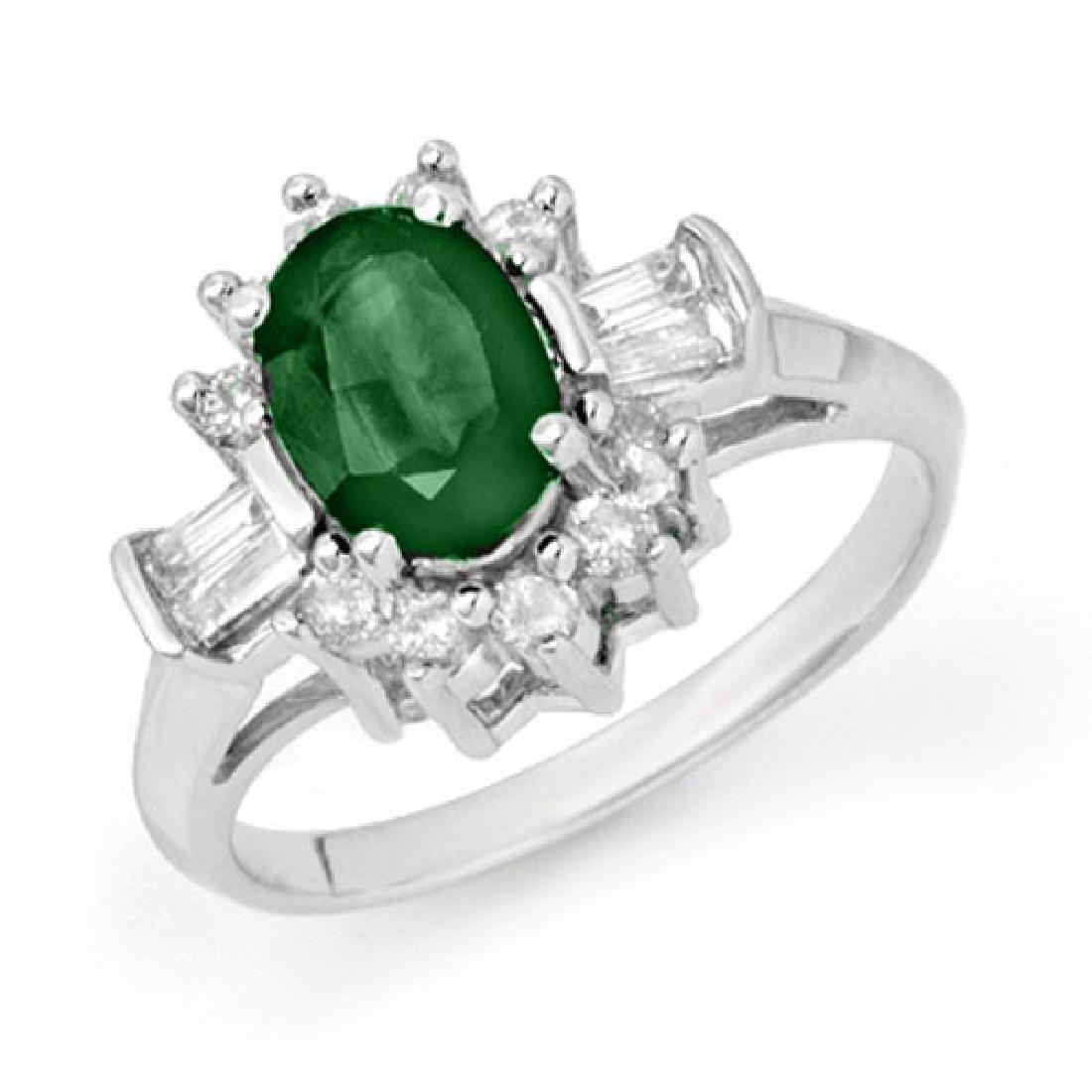 1.74 CTW Emerald & Diamond Ring 10K White Gold