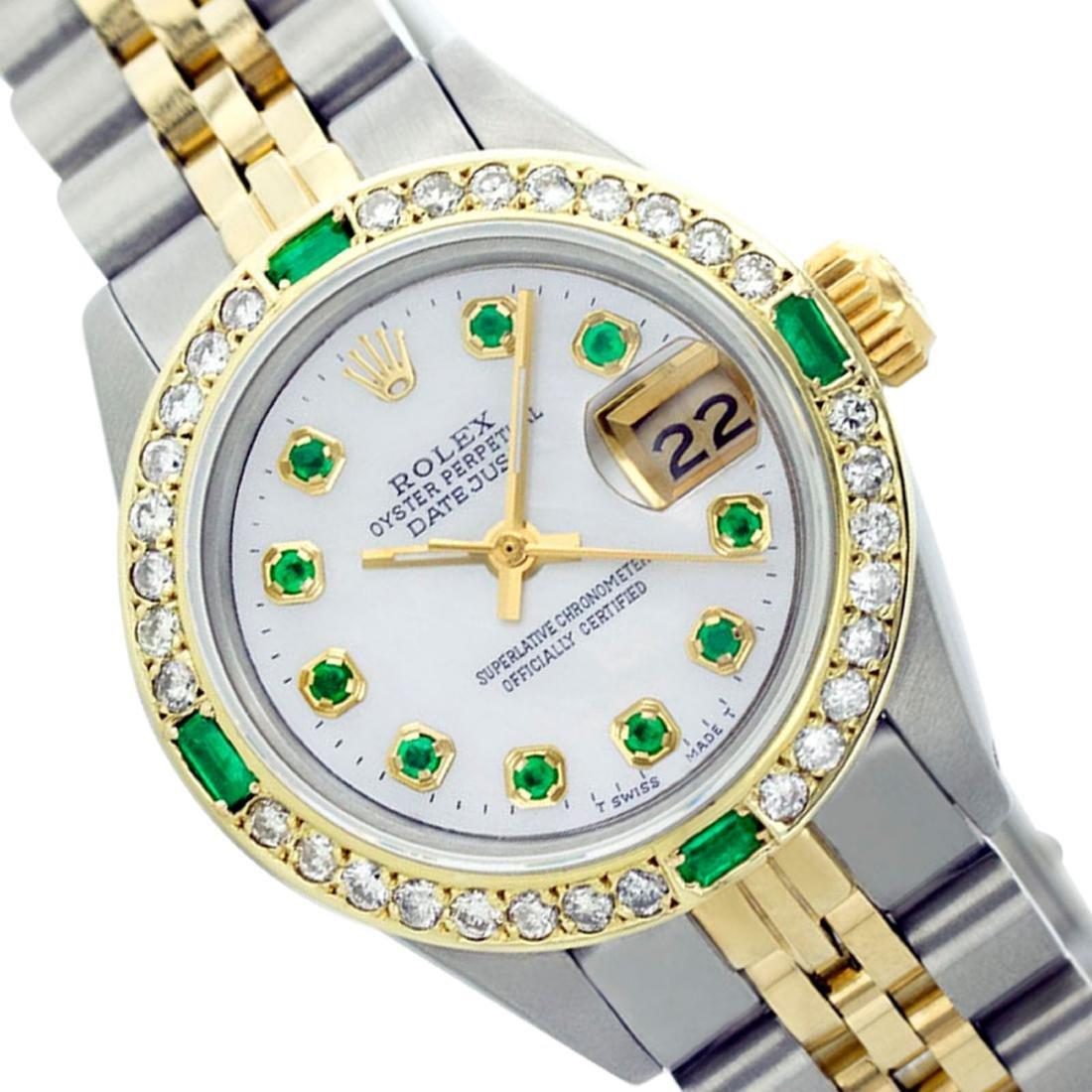 Rolex Ladies Two Tone 14K Gold/SS, Diam/Emerald Dial &