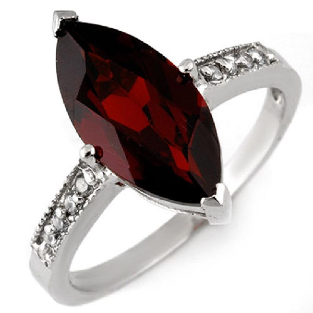 3.10 CTW Garnet & Diamond Ring 10K White Gold