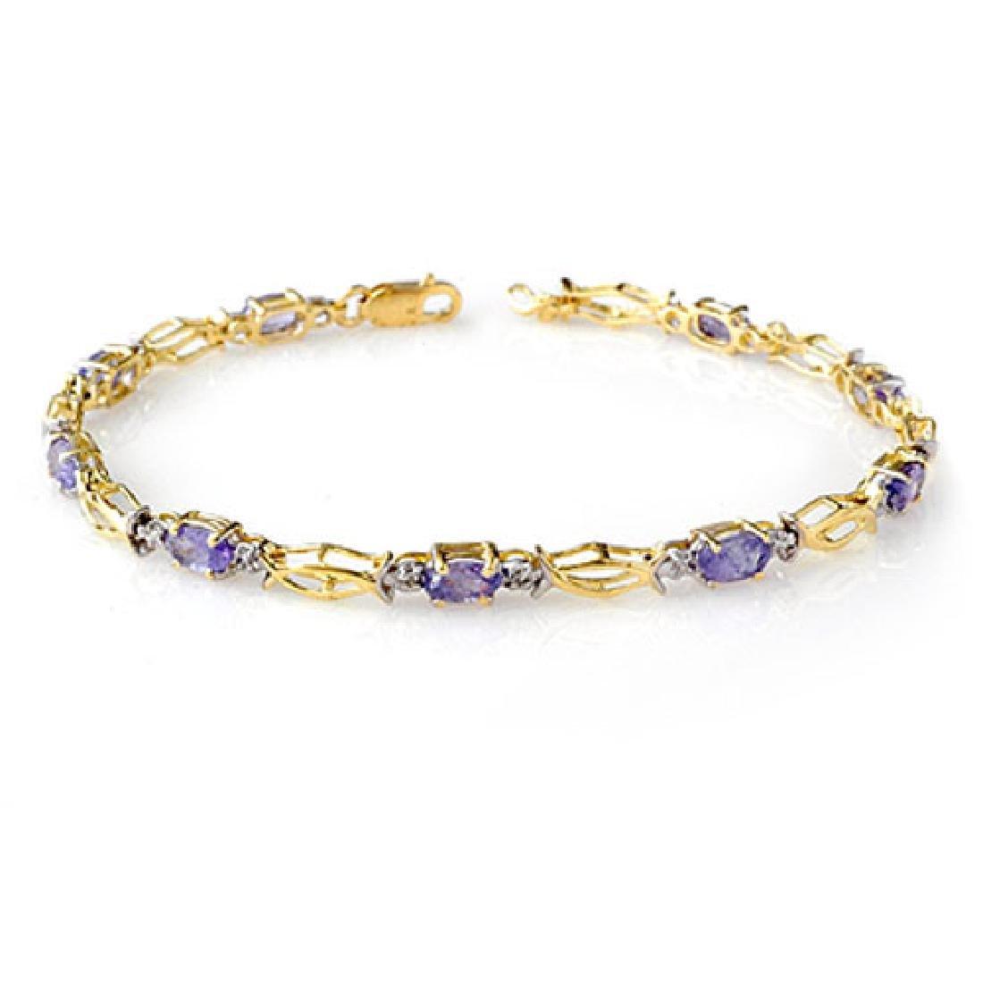 2.10 CTW Tanzanite Bracelet 10K Yellow Gold