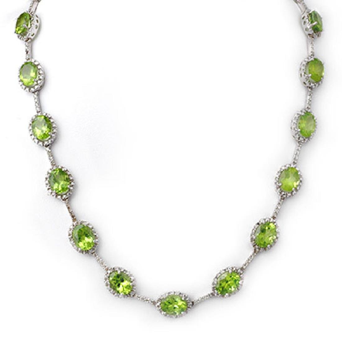 45.0 CTW Peridot & Diamond Necklace 14K White Gold