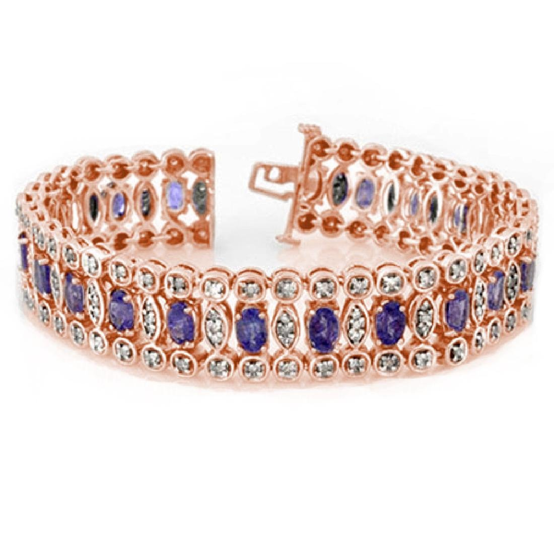 17.50 CTW Tanzanite & Diamond Bracelet 14K Rose Gold